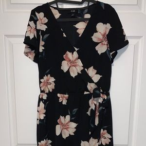 AGB Black Floral Wrap High Los Dress